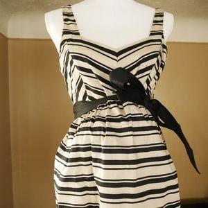 MATERNITY Dress - Black/Tan Striped w/ Black Belt